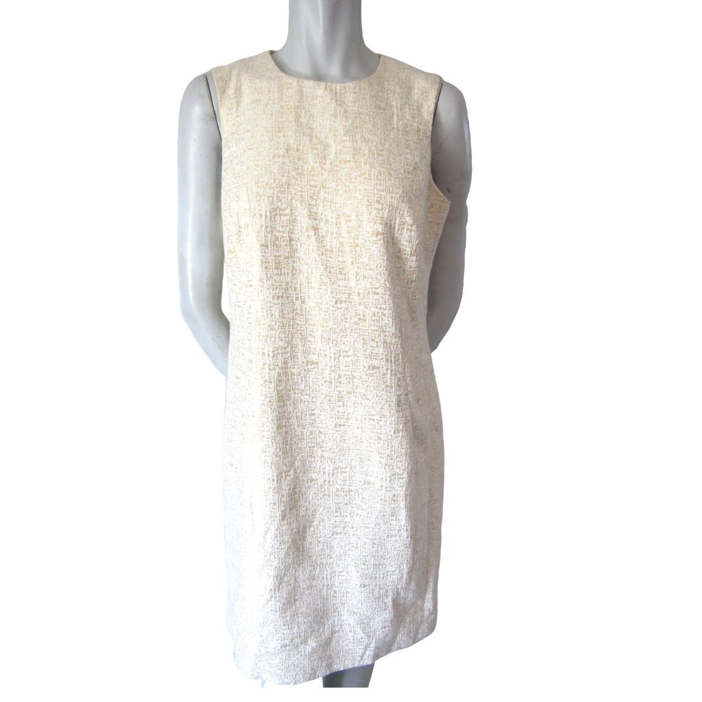 Peter Nygard Offwhite and Gold Textured Sheath Dress Medium (8)