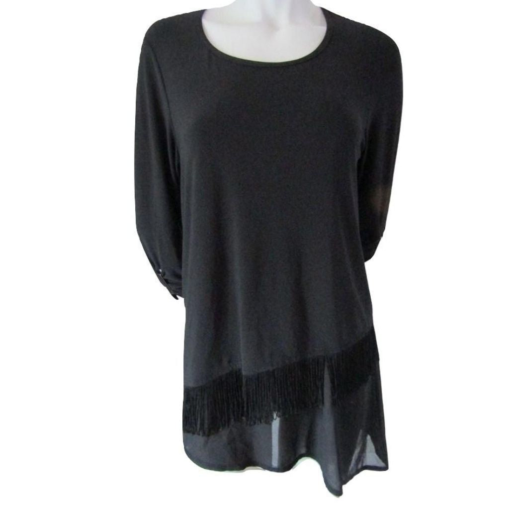 Picadilly Black Asymmetrical  Hem 3/4 Sleeve Top Size Medium (8)