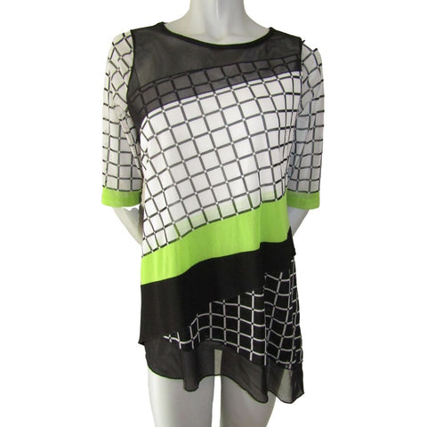 Picadilly Black, White and Lime Green Top with Mesh Medium (8)