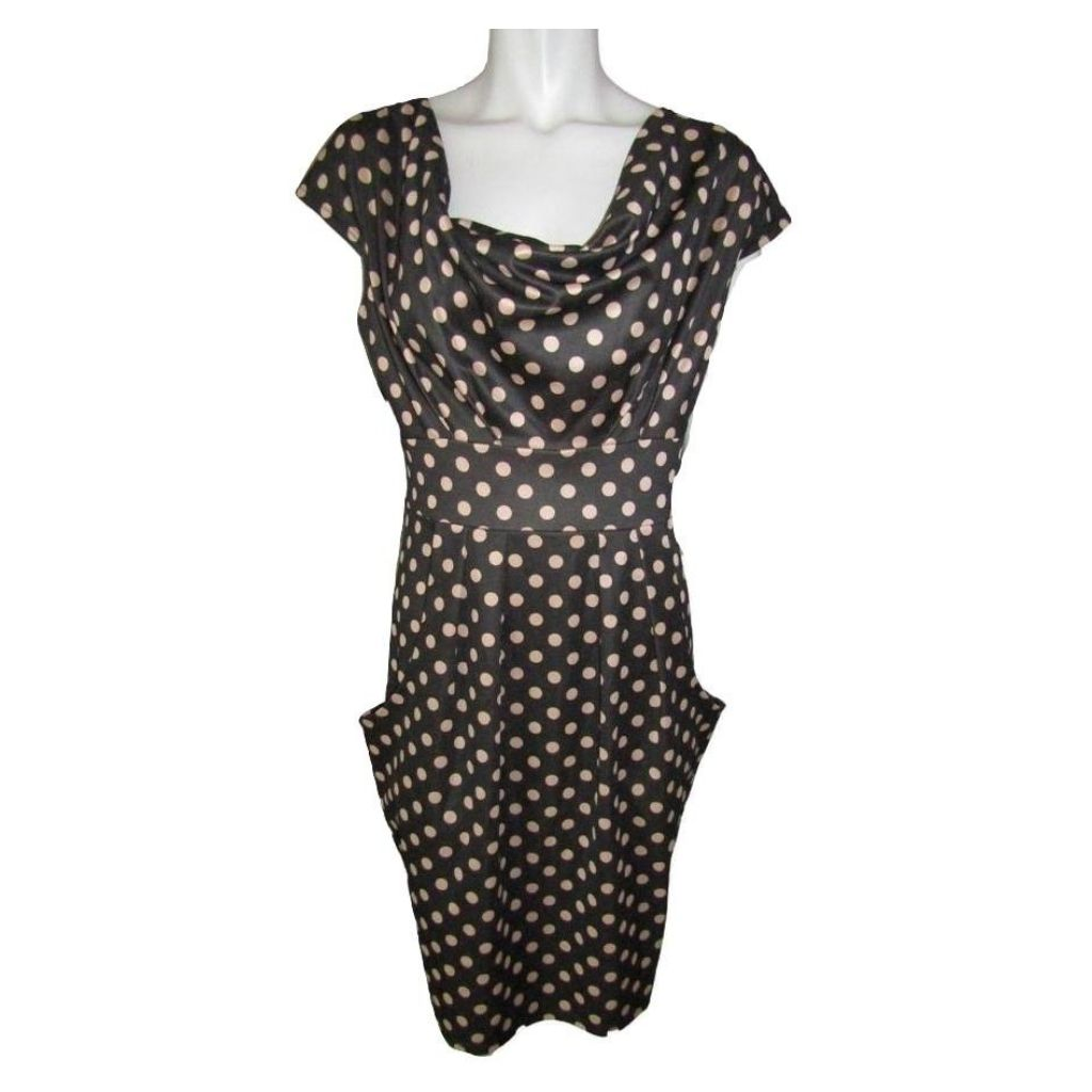 Pink Martini Grey and Peach Polka Dot Dress Size Large (12)