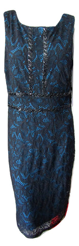 Sangria Black Lace Over Teal Liner Size XL (14) fits like a 10/12