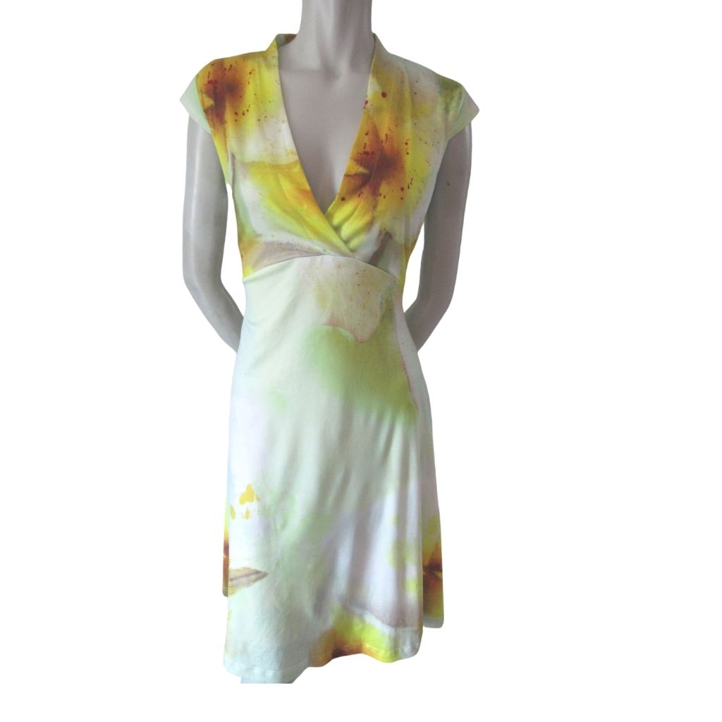 Smashed Lemon Silky Splatter Print Dress Large (12)