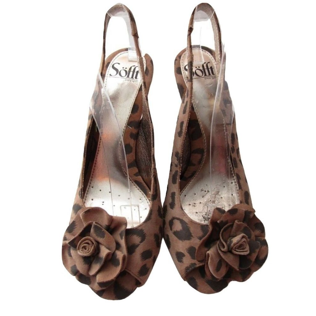Sofft Tan and Grey Suede Leopard Print Slingback Heels Size 7.5M