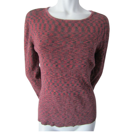Spanner Raspberry and Grey Ribbed Sweater Size Large (12)