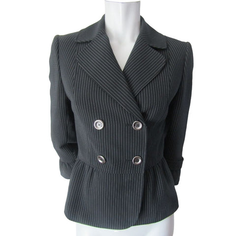 Tahari Arthur S Levine Black and Grey Pinstriped Blazer Size Small (4)