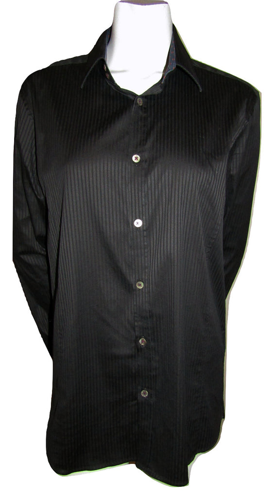 Ted Baker Black Pinstripe Button Blouse Size 4 (fits like an 8)