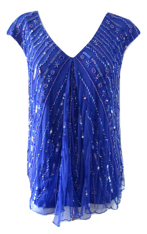 Together Blue Mesh Beaded and Sequined Top Size Medium