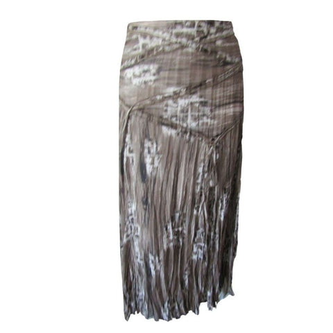 Tribal Taupe and White Crinkled Midi Skirt with Asymmetrical Yoke Size Small (6)