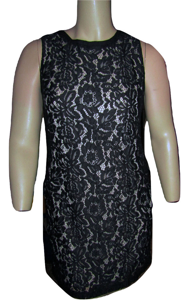 White House Black Market Black Lace Sheath Dress Size Large (12)