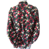 Zara Basic Semi Sheer Dark Floral Blouse with Velvet Tie Size Extra Small (2)