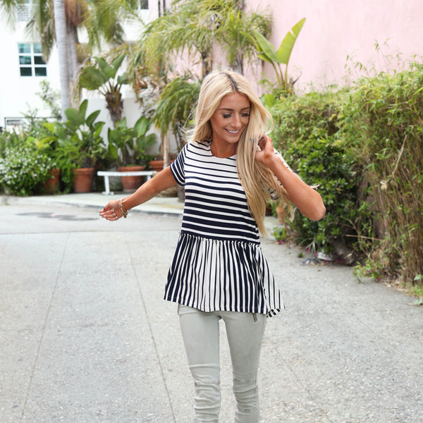 Chrissy Striped Peplum