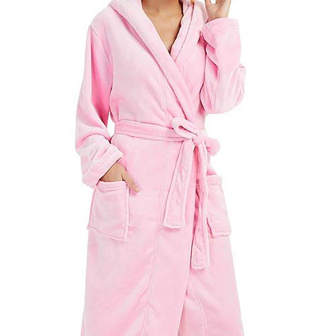 Women's Plush Hooded Bathrobe