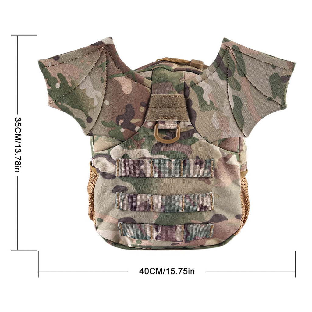 Camouflage Children's Backpack with Bat Wings