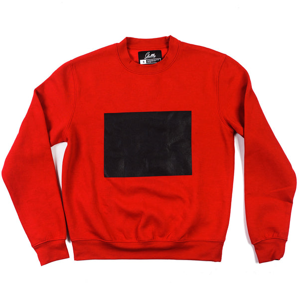 Red sweatshirt with a drawable surface
