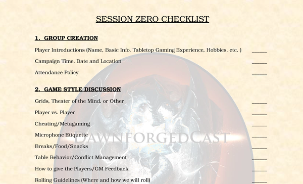DM Tools - Session Zero Checklist
