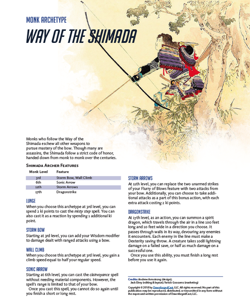 Overwatch in 5E - Way of the Shimada