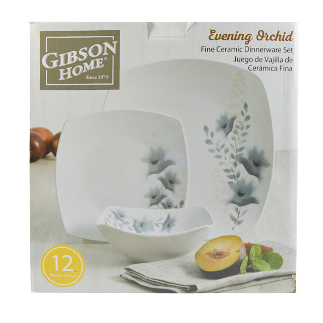 GIBSON EVENING ORCHID 12PC SOFT SQ D/WARE SET