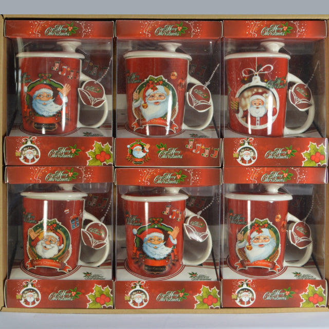 SANTA CERAMIC COFFEE MUG WITH LID & SPOON