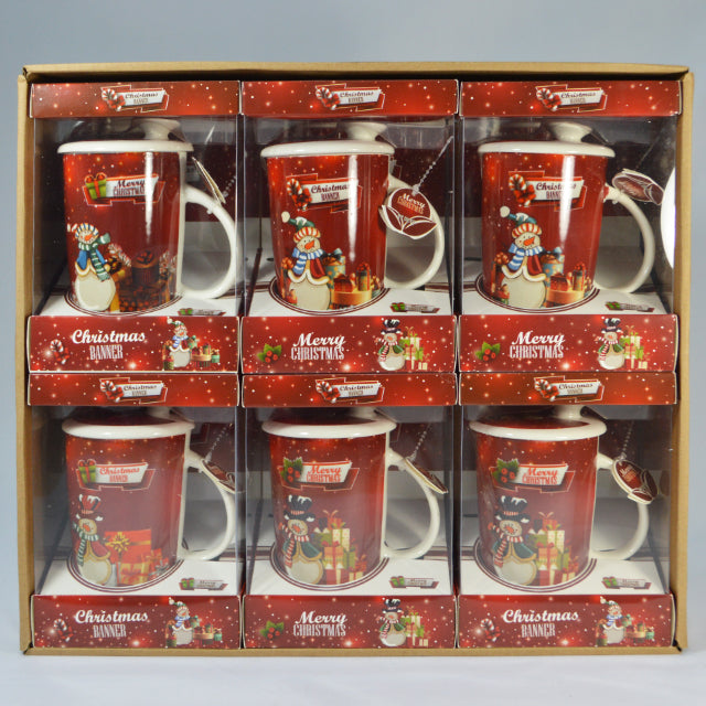 CHRISTMAS CERAMIC COFFEE MUG WITH LID & SPOON