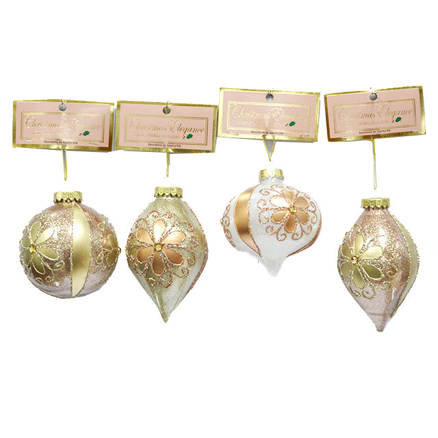 BALL ORNAMENT ROSE GOLD 100MM ASST