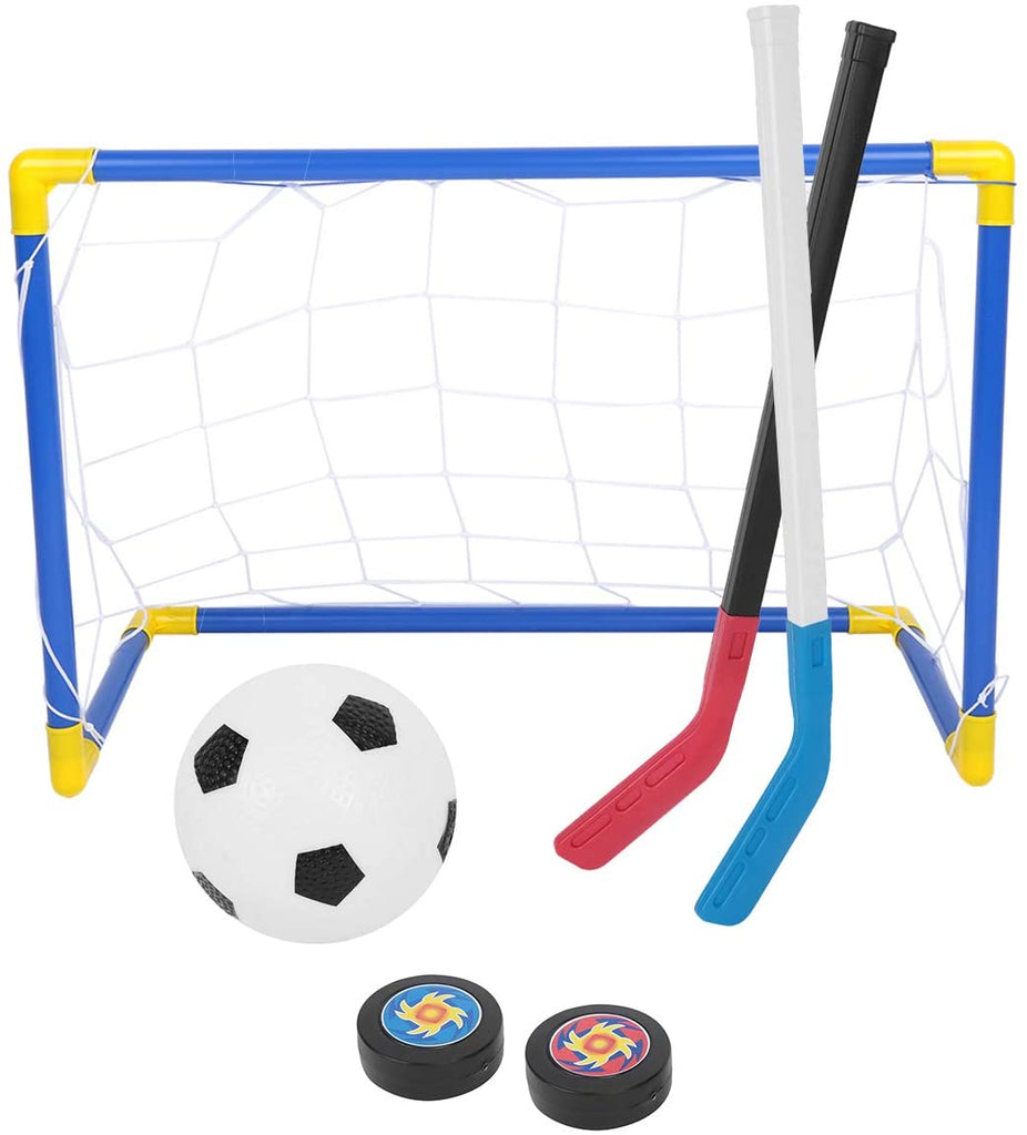 2 in 1 Sports Goal Net with Soccer Ball Ice Hockey Set with Hand Pump