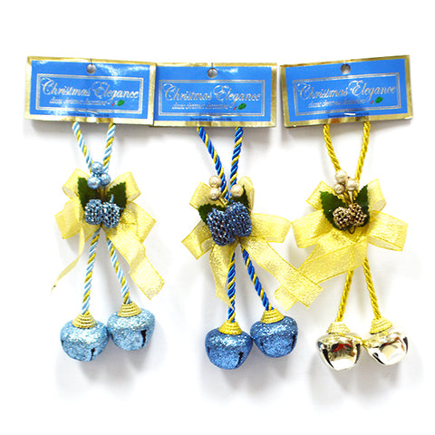 CHRISTMAS BELL DOOR HANGER BLUE/GOLD ASST