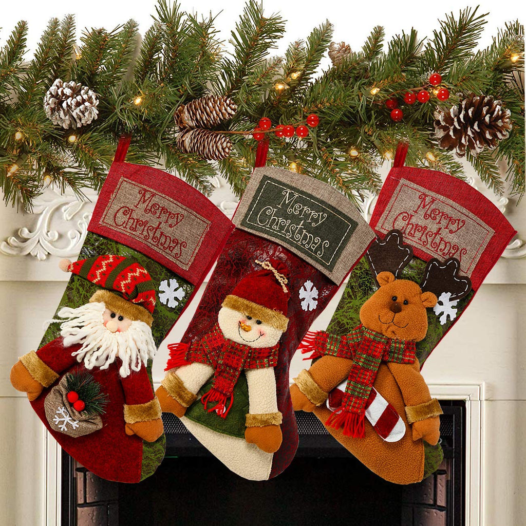 "3PCS 18"" CHRISTMAS STOCKINGS"