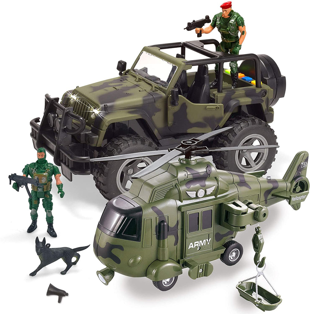 2 Pack Friction Powered Realistic Military Vehicle Car Set