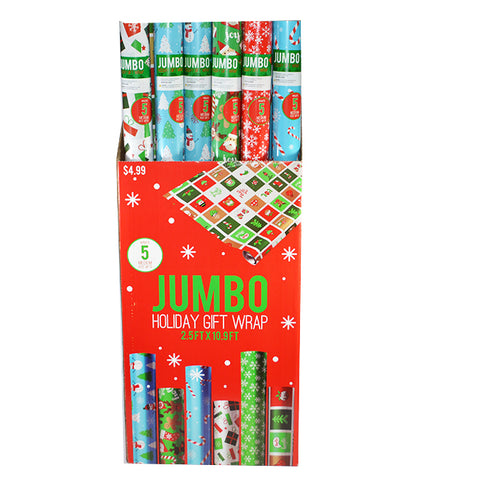 CHRISTMAS JUMBO GIFT WRAPPING PAPER 2.5FTX10.9FT (6ASST)