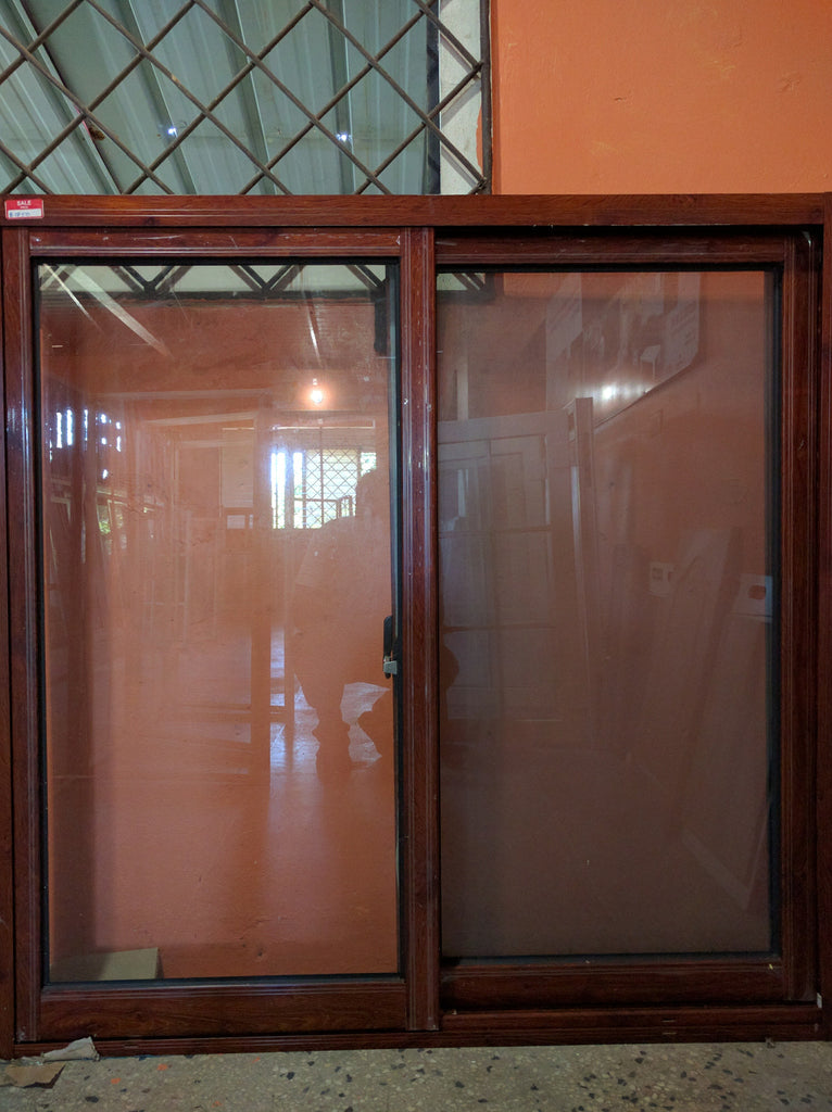 Brown Wood-Grain Color Aluminum Window