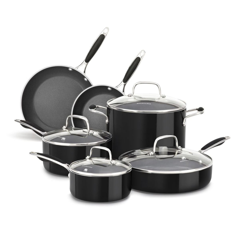 KitchenAid Midnight Black Hard Anodized Nonstick 10-Piece Cookware Set