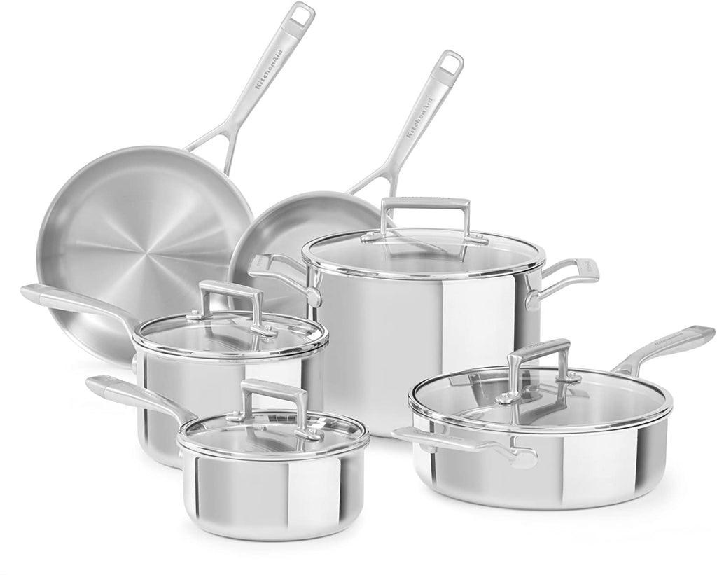 KITCHENAID 10PC PIECE STAINLESS STEEL COOKWARE