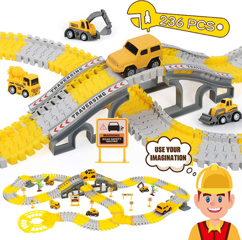 236PCS Construction Race Tracks