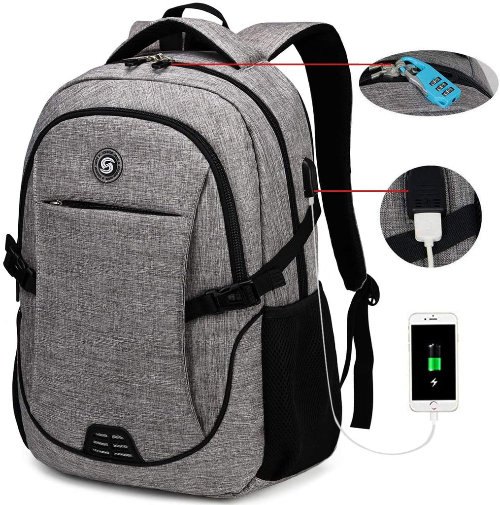 SOLDIERKNIFE Durable Waterproof Anti Theft Laptop Backpack Travel Backpacks Bookbag with usb Charging Port