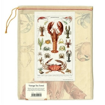 Crustaceans vintage tea towel