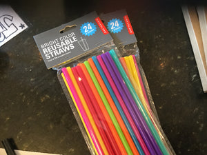 Bright color reusable straws
