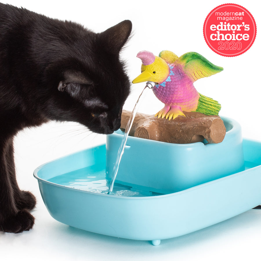 NEW!!! The Drinking Buddy Bird Fountain - Bird/Blue Basin