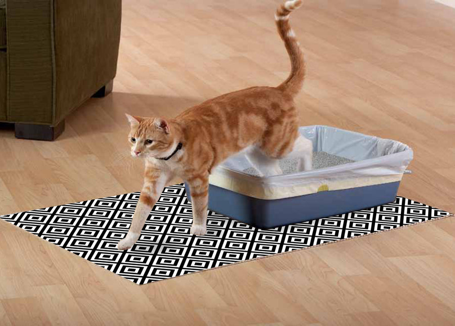 NEW! The Original Ribbed Foam Litter Mat -  Black & White Geometric