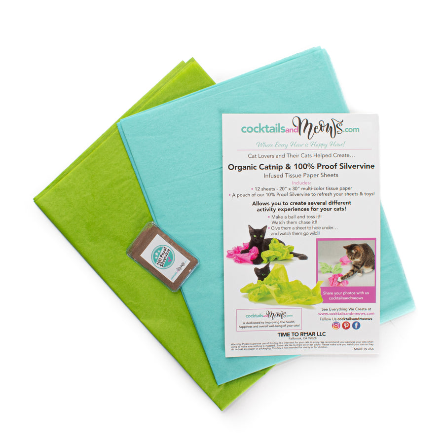 Organic Catnip & Silvervine Infused Paper Sheets (Teal/Green)
