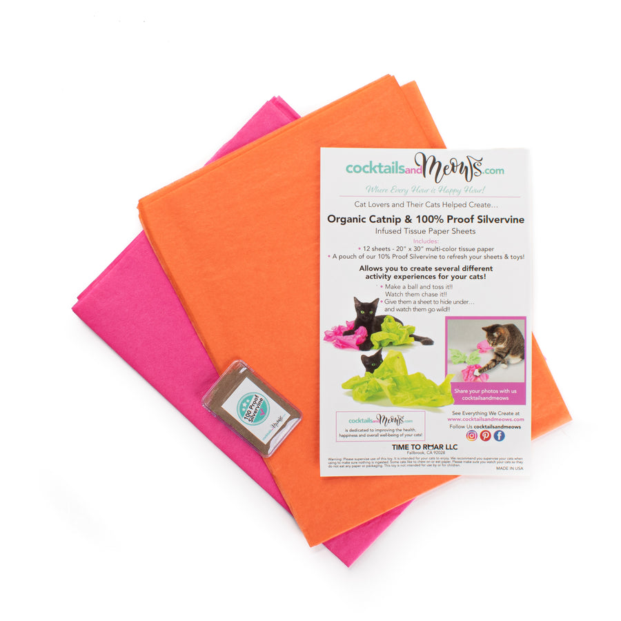 Organic Catnip & Silvervine Infused Paper Sheets (Pink/Orange)