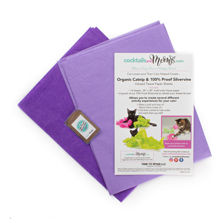 Organic Catnip & Silvervine Infused Paper Sheets (Purple)
