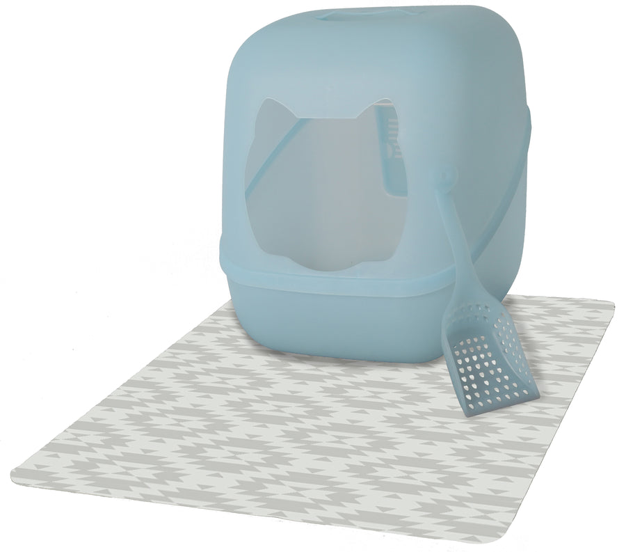 Deluxe Textured Microfiber Large Litter Box Mat - Stone