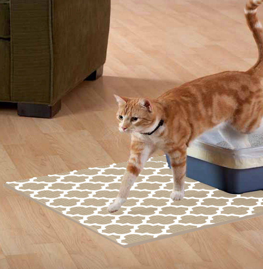 NEW! The Original Ribbed Foam LItter Mat - Brown Trellis