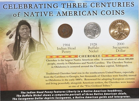 First Commemorative Mint 1904 Indian Penny, 1928 Buffalo Nickel & 2000 Dollar -