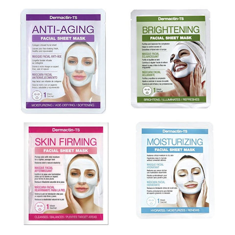 Pack of 4 Dermactin-TS Anti-aging, Brightening, Moisturizing, Skin Firming Masks - New