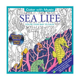 Color Your Way To Calm, Color with Music, Sea Life & Botanical Garden - 2 Books -