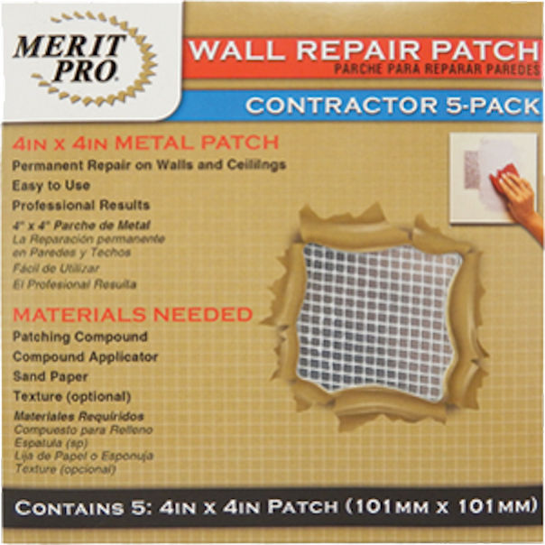 Merit Pro Distribution 4 x 4 in. Wall Repair Patch Contractor (6 Packs Of 5) - New