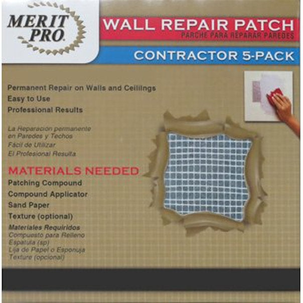 Merit Pro Distribution 8 x 8 in. Wall Repair Patch Contractor, 5 Pack - New
