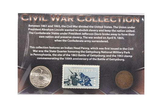 First Commemorative Mint Civil War Collection Quarter, Penny and Stamp -