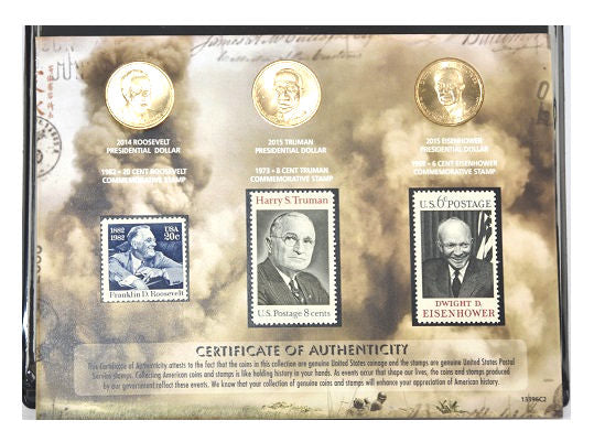 US Mint Important Faces of World War II Dollar and Stamp Collection -